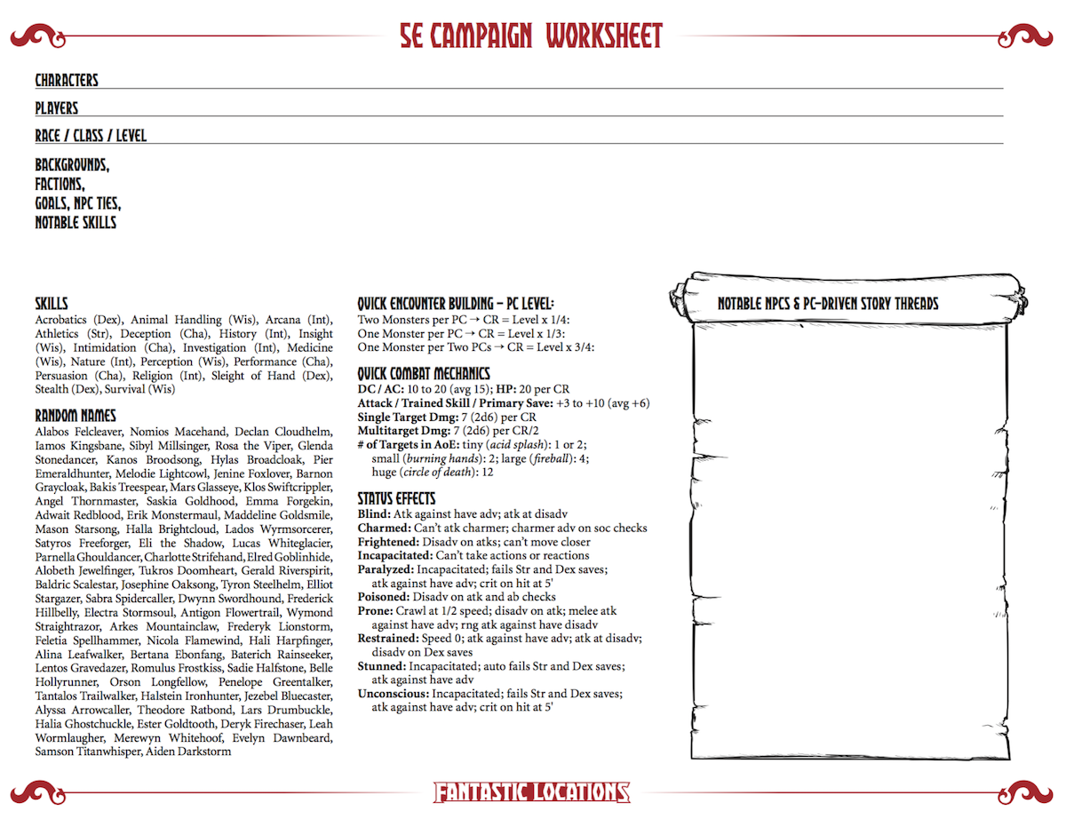 Dungeons and Dragons 5th Edition Campaign Worksheet: Sly