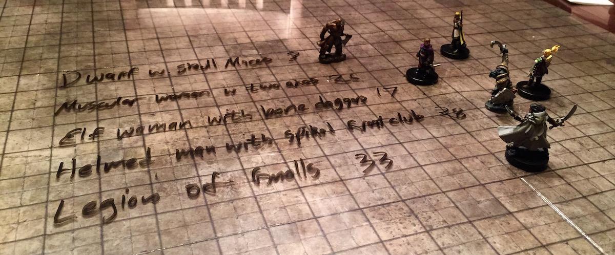 Monster traits written on a flip mat.