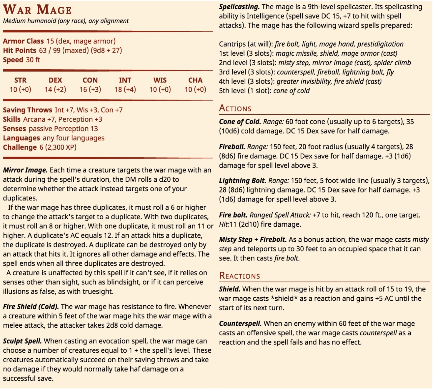 The War Wizard Stat Block
